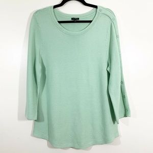 Talbots Green Button Detail Wide Sleeve Pullover L